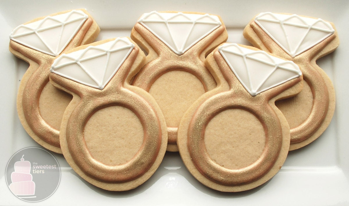 engagement ring cookies one dozen decorated sugar