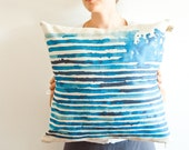 BLUE RAIN striped cushion cover in watercolor