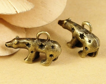 8pcs 15x23mm Antique Bronze Lovely 3D Bear Charms Pendant  Jewelry Supplies A1665-24C