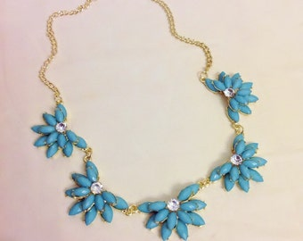 50% sale-Turquoise Flower Bib Statement Necklace,Summer Jewelry,Bridesmaid Wedding Gold,Bib Necklace,Stylish Necklace,Bridal Gift,Gif for mo