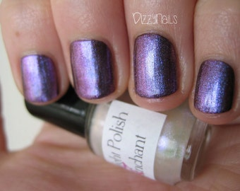 Enchant Duochrome Shimmer Indigo Purple Effect Top Coat Nail Lacquer Indie Starlight and Sparkles Polish