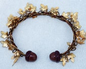 Gold Plated Maple Leaf Bracelet With Hand Made Polymer Clay Acorn Beads