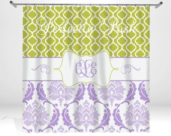 Personalized Damask Shower Curtain