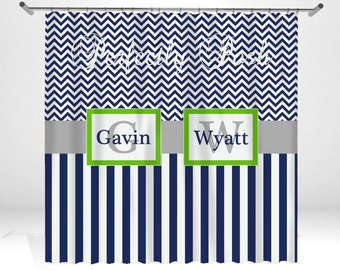 Chevron and Stripe Personalized Custom Shower Curtain Monogram with Name or Initials perfect for any bathroom