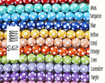16mm Polka Dots Round Beads  -  Chunky Necklaces - Set of 18 - 9 Colors to choose from