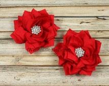 "Red Satin Kanzashi Flowers - Chiffon Embellished Layered Flower - Poinsettia Star Rhinestone Center 3"""