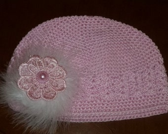 Girl's Chemo Pink Crochet Hat with Pink Lace Flower and Maribou Puff, Girls Pink Crochet  Hat with Flower and Feather Puff
