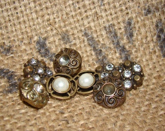 8 Vintage Antique Estate Sweater Buttons Gold Plastic with faux Rhinestones and Pearls Salvage Repair Retoration Projects Collect Display
