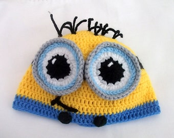 Minion Hat- halloween costume- Newborn Minion Beanie, Crocheted Minion Cap,for twins,without earflaps