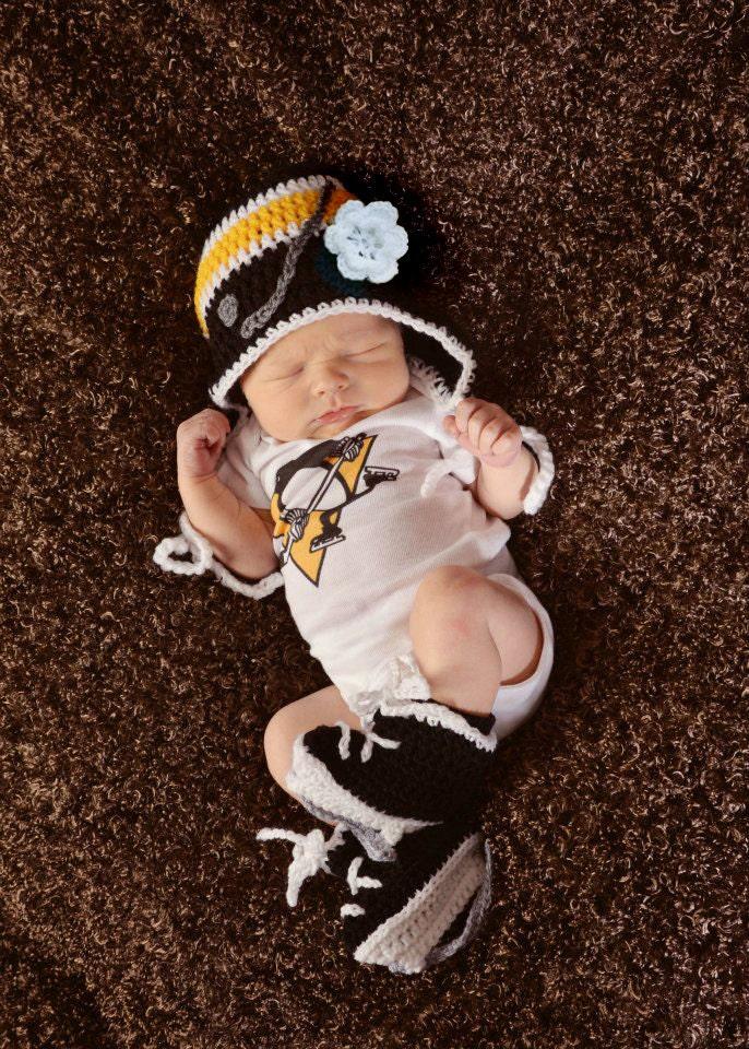 BABY GIRL HOCKEY Hat & Skates Black Gold Hockey Knit Baby