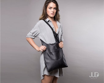 Black Leather tote bag - women leather bags SALE soft leather handbag - everyday bag - leather shoulder bag - leather - black leather bag