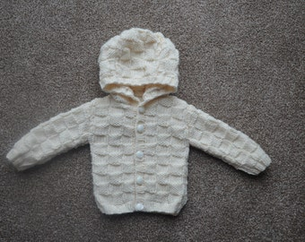 Hand knitted cream baby aran hoodie for age 0 - 6 months