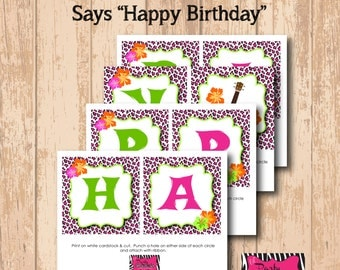 DIY Printable Luau Party Birthday Banner (INSTANT DOWNLOAD)