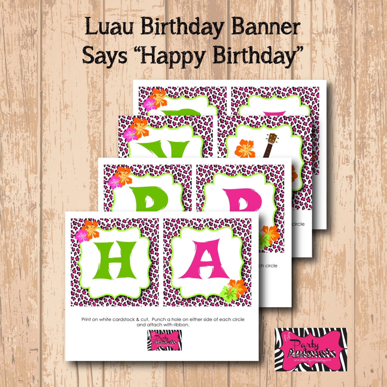 DIY Printable Luau Party Birthday Banner INSTANT DOWNLOAD