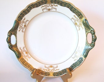 Antique Porcelain Large Serving Plate Cake Plate with Handles Green and Gold | Austria  Circa 1892-1932  Boseck & Co.  | Fine China