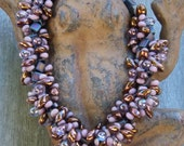 "Seaside Beaded Midnight Blue, Blackberry, Copper and Luminescent Amethyst Spiral Necklace: ""Blake"" Collection"