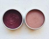 LIP SALVE SET - Organic. Beegan. Naturally tinted with alkanet root. Mica free. Cocoa. Pomegranate. Rose. Lip Balm duo