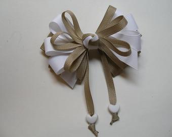 Khaki White Hair Bow Sweetheart HEART Boutique Streamers Tails Toddler Girl Grosgrain Handmade School Uniform