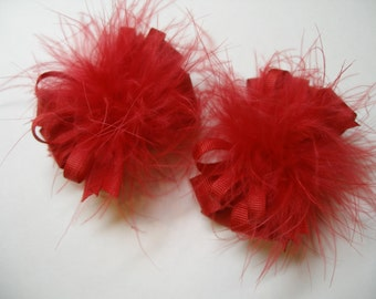 TWO Christmas Red Pig Tail Hair Bows Toddler Party Girl Princess Marabou Over the Top