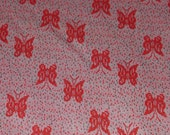 FABRIC SALE! 2 Yards Pink Butterflies Double Knit Polyester Fabric Red Butterfly Pairs White Grey Light Weight Stretch