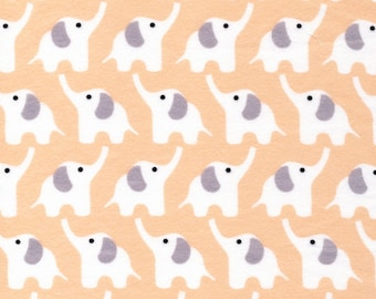 ORGANIC FLANNEL - Fanfare Collection - Rae Hoekstra of Made By Rae for Cloud 9 - Elephants in Pink - Half Yard or More