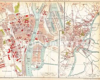 1898 Stettin Prussia present Szczecin Poland Pomerania in the 19th Century Antique Map
