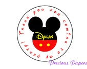Personalized Mickey Birthday Stickers Mickey Party Favors Round Labels Mickey Mouse Return address label