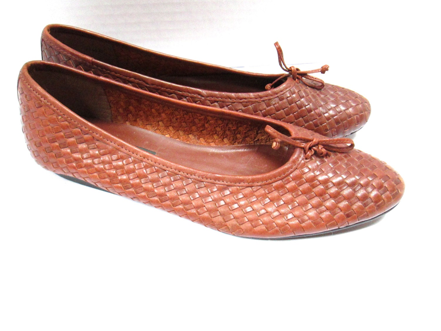 vtg 80s braided leather shoes slip on brown by