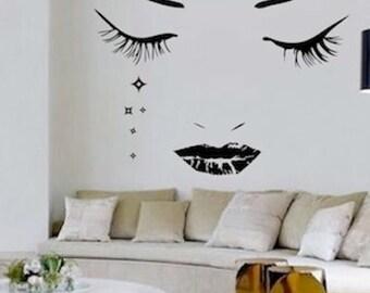 Modern Face Vinyl Wall Art Design, Face Wall Decal, Crying Face Decal, Modern Face Wall Art Sticker, Removable Modern Decal Decor, f27