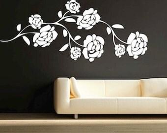 Pretty Flower Branch Vinyl Wall Decal,  Nursery Branch Decals, Removable Vinyl Branch, Interior Branch Murals, Branch Self Adhesive, f62