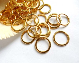 20 Gold Plated Closed Jump Rings - 15mm - 8-19