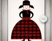 Little Women inspired Art Print, Girl in plaid dress winter, ice skates, Black, Red, Cream 8x10 (237AOWD) Printable Instant download