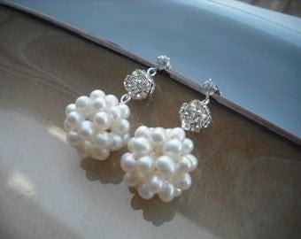PearlCluster, Bridal Earrings, Rhinestone Crystal and A Grade Pearl Cluster Earrings, Vintage Style Bridal Earrings, Weddng Jewelry
