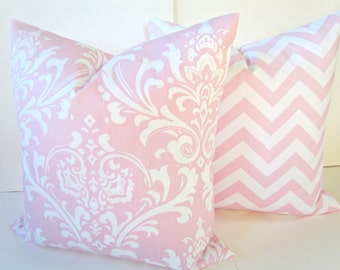 PINK PILLOWS SET of 2 Pink Decorative Throw Pillows Pink Throw Pillow Covers Baby pink Nursery Baby Nursery Pillow Covers 16 18x18 Girl