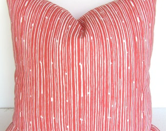 CORAL PILLOWS Coral Throw Pillow Covers CORAL Decorative Pillows Coral Striped Pillow Covers 20x20 orange Coral Pillows Home and Living
