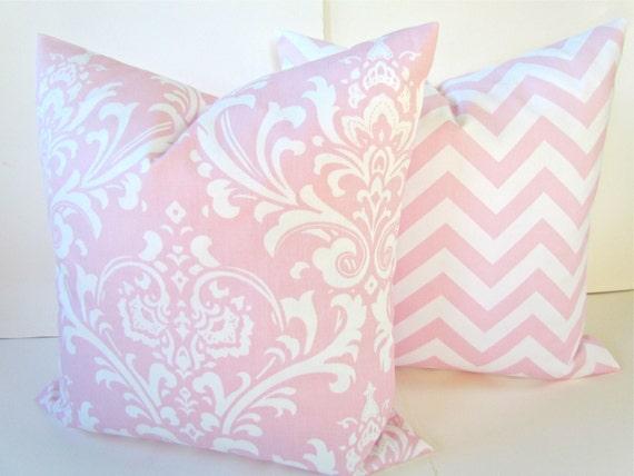 Items similar to PINK PILLOWS SET of 2. Pink Throw Pillows Pink Pillow Covers Baby pink Nursery ...