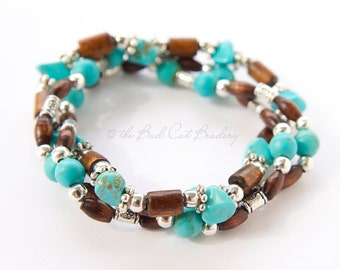 Turquoise Blue, Silver and Brown Wood Stretch Stack Bracelets