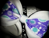 Purple, Teal, and White Floral Design Hair Bow with White Base