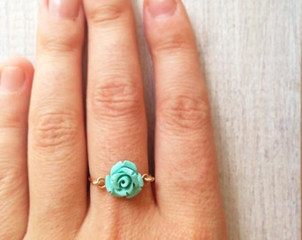Turquoise ring, gold ring, delicate ring, silver ring,pinky ring, flower ring, 14k gold fill ring, stacking ring, mother's day gift