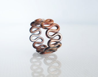 Antiqued Copper Ring, Adjustable Wire ring, Open ring,  Copper Jewelry