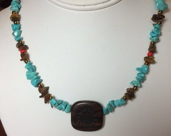 Turquoise, Sterling Silver and Red Swarovski Necklace.