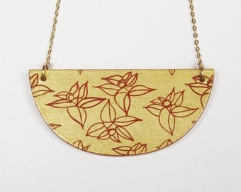 Necklace, Laquer & Gold Leaf. Flowers Pattern