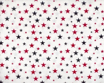 USA Stars cotton fabric - white with navy blue and red stars - by the continuous YARD