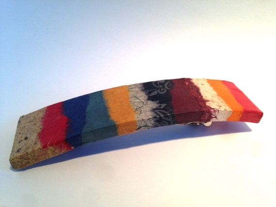 Hanji French Barrette Hair Pin Patchwork Multicolor Bold Colors Sturdy Stainless Steel Barrette Handmade