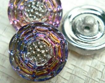 Purple Gold Floral Czech Glass Button - 13mm - 582 - 1 piece