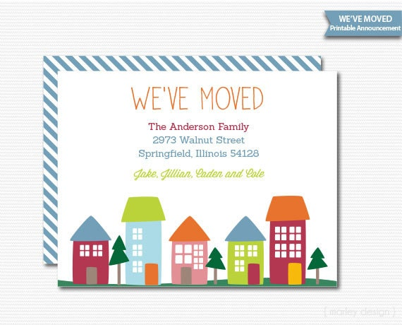 New home invitation new home announcement we 39 ve moved for Moving home cards template