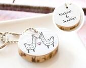 Llama Keychain Couple Keychain Custom Personalized Keychain Alpaca Keychain Eco-Friendly Reclaimed Wood Animal Keyring Unique Wedding Gift
