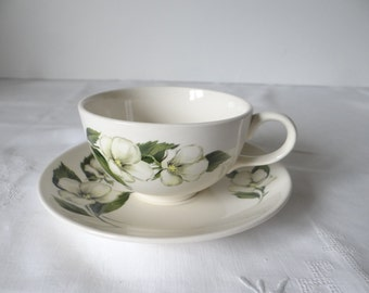 Teacup and Saucer - White Flower Rhythm by Homer Laughlin - Beautiful Serving Pieces
