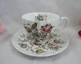 Vintage Johnson Bros Staffordshire Bouquet English Teacup and Saucer Tea Cup