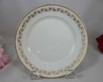 Vintage GDA Limoges France White and Gold Bread and Butter Plate - 8 Available